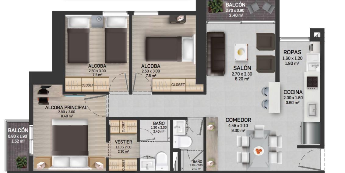 FIORI -  proyecto de apartamentos en venta en Itagui